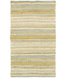 RugStudio presents LR Resources Cotton Dhurry Lr03350 Yellow/Gray Flat-Woven Area Rug