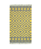 RugStudio presents LR Resources Tribeca Lr04323 Gray/Mustard Flat-Woven Area Rug