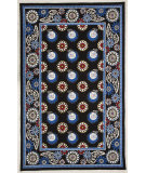 RugStudio presents Marcella Vera Bradley Night Owl VBY-050A Black-Blue Hand-Hooked Area Rug