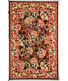 RugStudio presents Rugstudio Sample Sale 27260R Dark Brown-Celery Hand-Hooked Area Rug