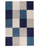 RugStudio presents MAT Orange Catena Cuadro Blue/Grey Hand-Tufted, Good Quality Area Rug