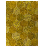 RugStudio presents MAT Vintage Honey Comb Gold Hand-Tufted, Good Quality Area Rug