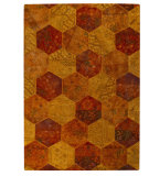 RugStudio presents MAT Vintage Honey Comb Orange Hand-Tufted, Good Quality Area Rug