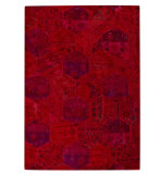 RugStudio presents MAT Vintage Honey Comb Red Hand-Tufted, Good Quality Area Rug