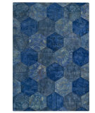 RugStudio presents MAT Vintage Honey Comb Turquoise Hand-Tufted, Good Quality Area Rug
