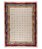 RugStudio presents Mat The Basics Khema 6 White/Multi Woven Area Rug