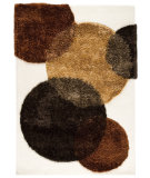 RugStudio presents MAT The Basics Circle Of Life White-Brown Hand-Tufted, Good Quality Area Rug