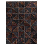 RugStudio presents MAT Vintage Tile Black/Brown Hand-Tufted, Good Quality Area Rug