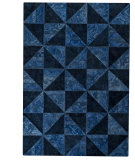 RugStudio presents MAT Vintage Tile Blue/Turquoise Hand-Tufted, Good Quality Area Rug