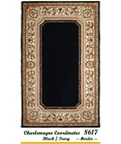 RugStudio presents MER Charlemagne Coordinates 8617 Black-Ivory Border Hand-Tufted, Better Quality Area Rug