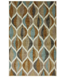 RugStudio presents Mohawk Home New Wave Ornamental Ogee Taupe Machine Woven, Good Quality Area Rug