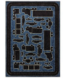 RugStudio presents Mohawk Home Woodgrain Fast Lane Blue Machine Woven, Good Quality Area Rug