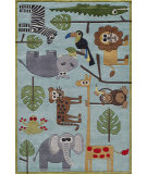 RugStudio presents Momeni Lil Mo Whimsy Lmj19 Blue/Multi Hand-Tufted, Good Quality Area Rug