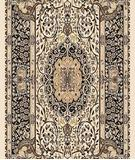 RugStudio presents Moren Rugs Isparta Tabriz 871 Beige-black Machine Woven, Good Quality