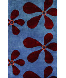 RugStudio presents Noble House Ariel Ari-105 Light Blue / Dark Red Hand-Tufted, Better Quality Area Rug