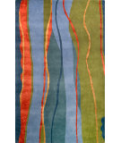 RugStudio presents Noble House Citadel Cit-401 Green / Blue / Rust Hand-Tufted, Better Quality Area Rug