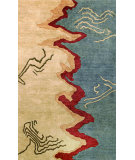 RugStudio presents Noble House Elegant Ele-601 Beige / Blue Hand-Tufted, Best Quality Area Rug