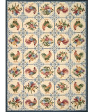 RugStudio presents Nourison Country Heritage H-319 Ivory-Blue Hand-Hooked Area Rug