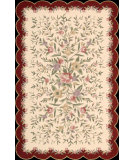 RugStudio presents Nourison Country Heritage H-722 Ivory Burgundy Hand-Hooked Area Rug