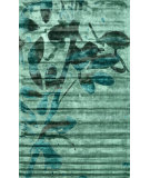 RugStudio presents Nuloom Hand Loomed Viscose Floral Harriet Green Woven Area Rug