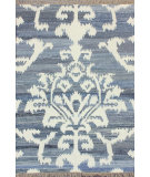 RugStudio presents Nuloom Flatwoven Medallion Fringe Blue Flat-Woven Area Rug