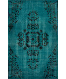 RugStudio presents Nuloom Hand Knotted Pierre Overdyed Turquoise Hand-Knotted, Good Quality Area Rug