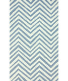 RugStudio presents Nuloom Hand Hooked Slant Chevron Light Blue Hand-Hooked Area Rug