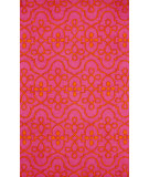 RugStudio presents Nuloom Hand Hooked Lace Medallion Fuschia Hand-Hooked Area Rug
