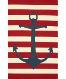 RugStudio presents Nuloom Hand Hooked Anchor Stripe Red Hand-Hooked Area Rug