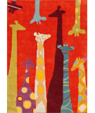 RugStudio presents Nuloom Hand Tufted Giraffe Red Hand-Tufted, Good Quality Area Rug