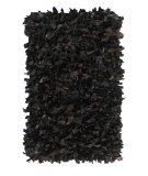 RugStudio presents Nuloom Hand Made Silas Leather Shag Black Area Rug