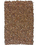 RugStudio presents Nuloom Hand Made Silas Leather Shag Dark Brown Area Rug