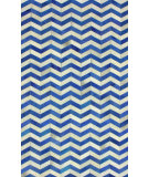 RugStudio presents Nuloom Hand Woven Chevron Cowhide Patches Blue Woven Area Rug