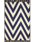 RugStudio presents Nuloom Hand Loomed Pippa Chevron Flatweave Cotton With Pompoms Navy Woven Area Rug