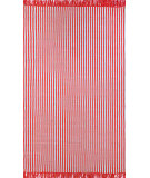 RugStudio presents Nuloom Flatweave Striped Eula Red Flat-Woven Area Rug