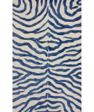 RugStudio presents Nuloom Hand Tufted Plush Zebra Royal Blue Hand-Tufted, Good Quality Area Rug