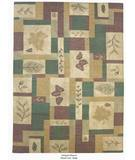 RugStudio presents ORG Antiqued Dhurrie Boxed Leaf Beige Flat-Woven Area Rug