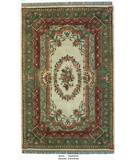 RugStudio presents ORG Destin Aubusson Ivory/Green Hand-Tufted, Good Quality Area Rug
