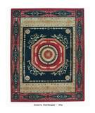 RugStudio presents ORG Afina Savonerrie Black/Burgundy Flat-Woven Area Rug
