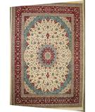 RugStudio presents J. Aziz Shah Abbas Esfahan Ivory - Red Hand-Knotted, Good Quality Area Rug
