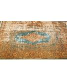 RugStudio presents J. Aziz Kerman Open Field Medallion Light Blue - Ivory Hand-Knotted, Good Quality Area Rug