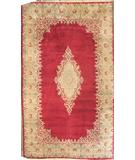 RugStudio presents ORG Kerman Open Field Medallion Red-Ivory Hand-Knotted, Good Quality Area Rug