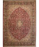 RugStudio presents ORG Kerman Medallion Floral Red-Black Hand-Knotted, Good Quality Area Rug