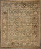 RugStudio presents Org Indo-Oushak Dos-132 Gray-Blue Hand-Knotted, Best Quality Area Rug