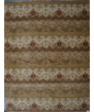 RugStudio presents ORG Ginza Ikat Brown Beige Hand-Knotted, Good Quality Area Rug