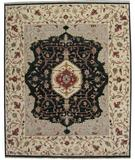 RugStudio presents ORG Indo-Persian 909 Black-Beige Hand-Knotted, Best Quality Area Rug