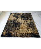 RugStudio presents Org Texture Cea7209 Black Hand-Knotted, Good Quality Area Rug