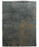 RugStudio presents Org Mudra Special Gc221 Gray/Gold/Black Hand-Knotted, Good Quality Area Rug