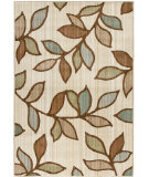 RugStudio presents Orian Anthology Grove Leaves White Beige Machine Woven, Good Quality Area Rug