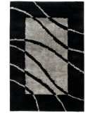 RugStudio presents Orian Uptown Border Swirl 1302 Black Silver Machine Woven, Better Quality Area Rug